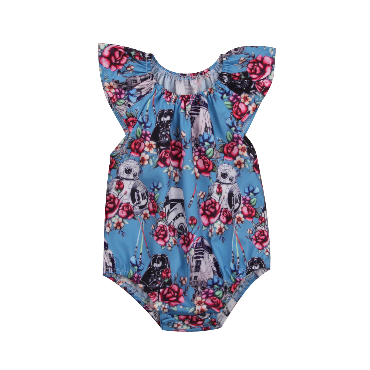 Baby Girls Star Wars Flower Romper Newborn Ruffles Jumpsuit Outfits Clothes