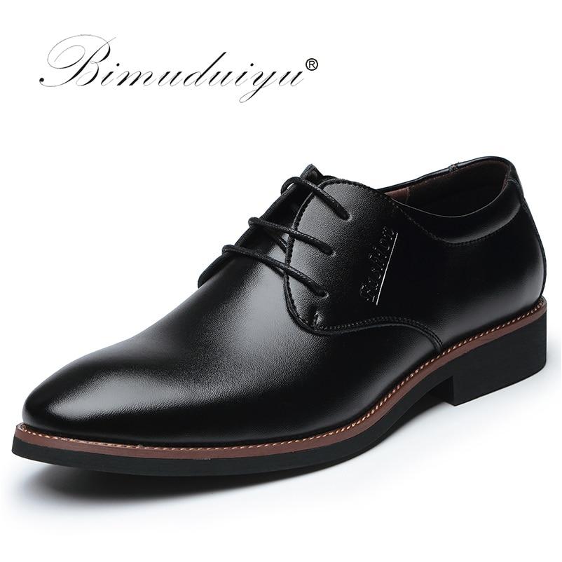 BIMUDUIYU Marque De Luxe de Haute Qualité Oxford Robe Chaussures à Lacets Chaussures D'affaires Décontractée Mâle Formelle Plat Chaussures Travail Chaussures sapatos