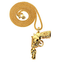 European Style Gun Pendant Necklace Hip Hop Chain Men Women Jewelry Stainless Steel Necklace Mens Military Enthusias
