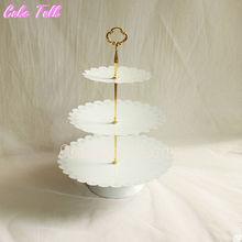 Klassische 3 reihe-kuchen-standplatz hochzeit dessert tray home decor kuchen Zubehör backformen geschirr Event & Party Supplies