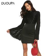 DUOUPA Summer Dress Women 2019 Sexy Bodycon Backless A-Line Beach Party Dresses Vintage Flare Sleeve Mesh Mini Dress Vestidos цена