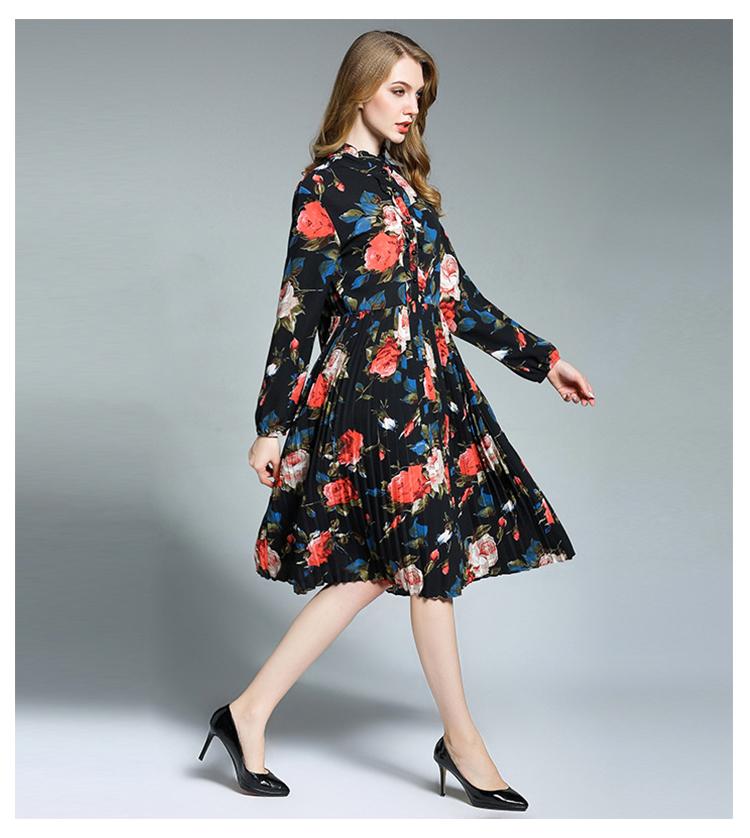 889d710443f Ryeon Plus Size Spring Boho Floral Dress Women Chiffon Long Sleeve Printed  O Neck Pleated Bottom Black Brown Bohemian Dress 4xl