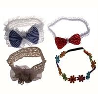 NEW Headband hair band 4-piece set / Ribbon flower lace ruffle