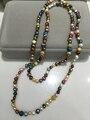 Длинные жемчужное ожерелье 100% настоящая жемчужина искусственный многоцветный 100 СМ принять заказ любой протяженностью пляж стиль женская мода ювелирные изделия
