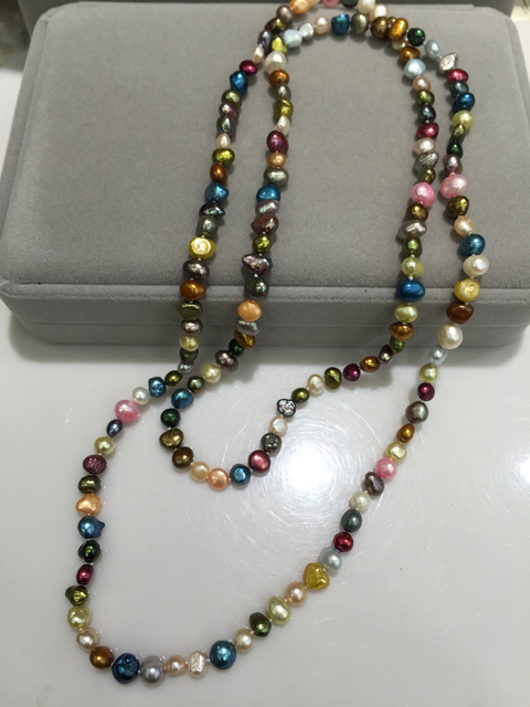 Long pearl necklace 100% real pearl cultured  multicolor 100CM accept order any lenth beach style fashion women jewelry