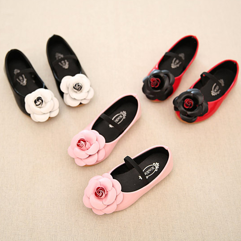 Fashion Flower Mary Jane Baby Girls Shoes Genuine Leather