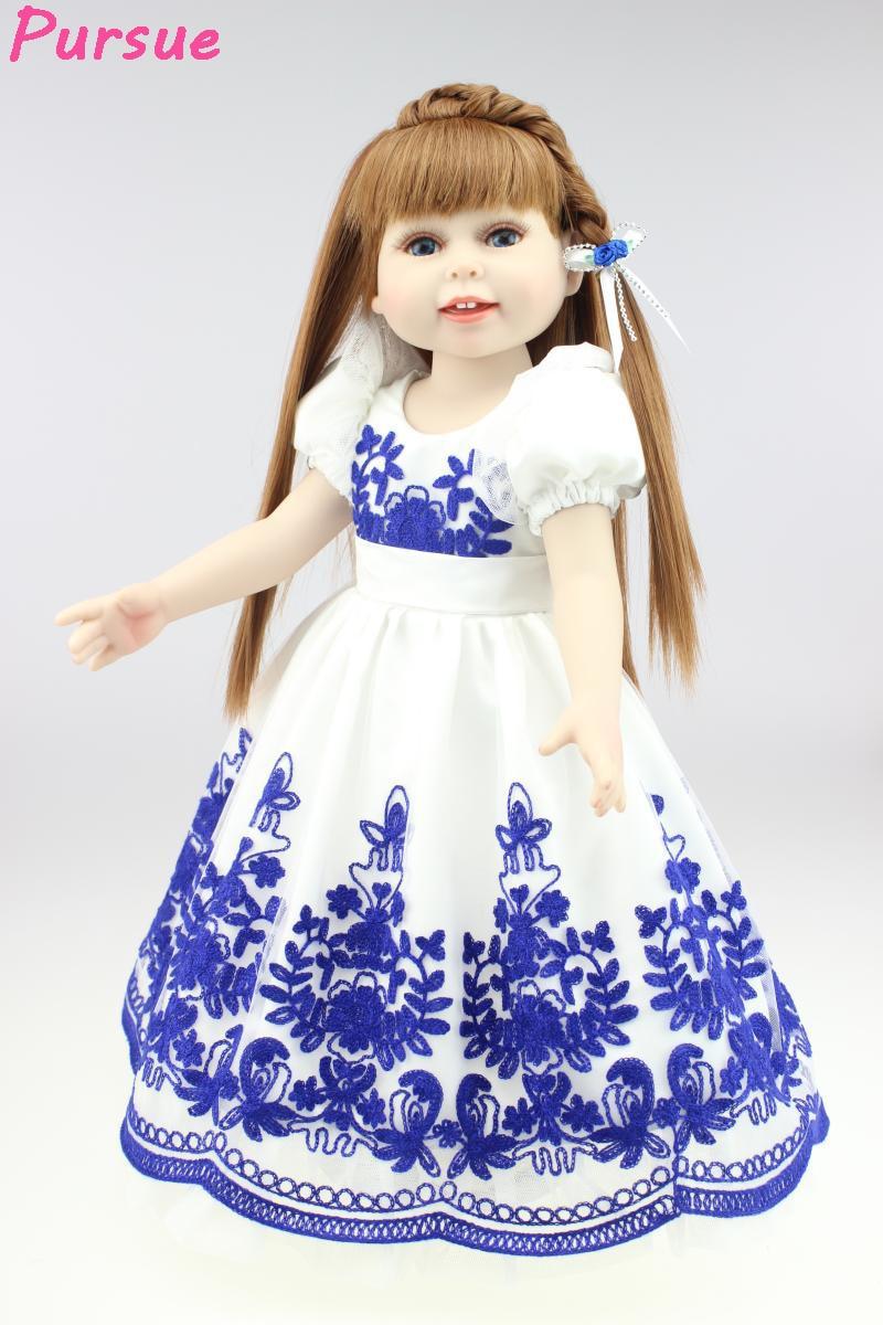 ФОТО Pursue Articulated Doll 18 inch Princess American Girl BJD Dolls Baby Reborn with Silicone Body Toys for Girls Fantasy BJD Dolls