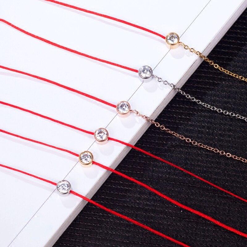 YUN RUO, брендовые золотые бриллианты, браслет с красной линией, Подвески, женская цепочка, предотвращающая выцветание