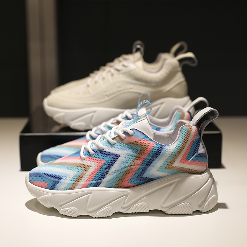 Colorful Striped Women Sneakers Lace-up Woman Casual Shoes Platform Chunky Heel Tennis Shoes Height Increase Fashion ShoesColorful Striped Women Sneakers Lace-up Woman Casual Shoes Platform Chunky Heel Tennis Shoes Height Increase Fashion Shoes