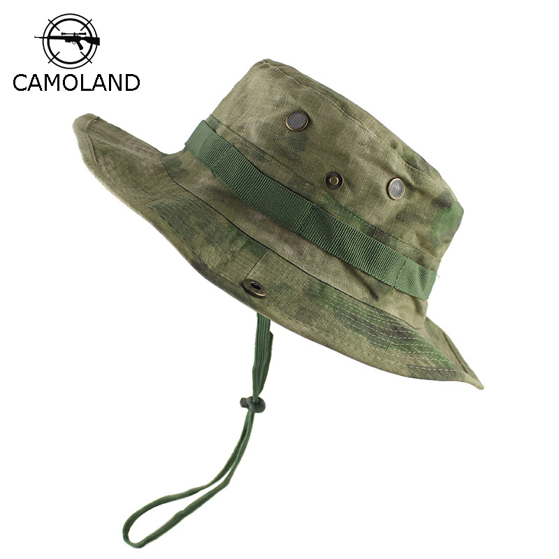 54e9949f8444e Táctico Airsoft francotirador camuflaje Boonie sombreros Nepalese gorra  militar hombres senderismo sombreros verano cubo pesca sombrero
