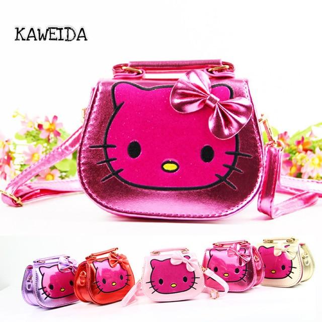 dbb543826754 Fashion Kids Hello Kitty Handbag PU leather Crossbody messenger Bags for  Pupil Children Teenager Girls Shoulder Pack Pink Purple