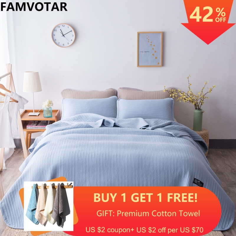 Famvotar Japanese style 5 Solid Color Quilted Bedspread 3 Piece Vertical Pattern Summer Bedspreads Sofa Couch