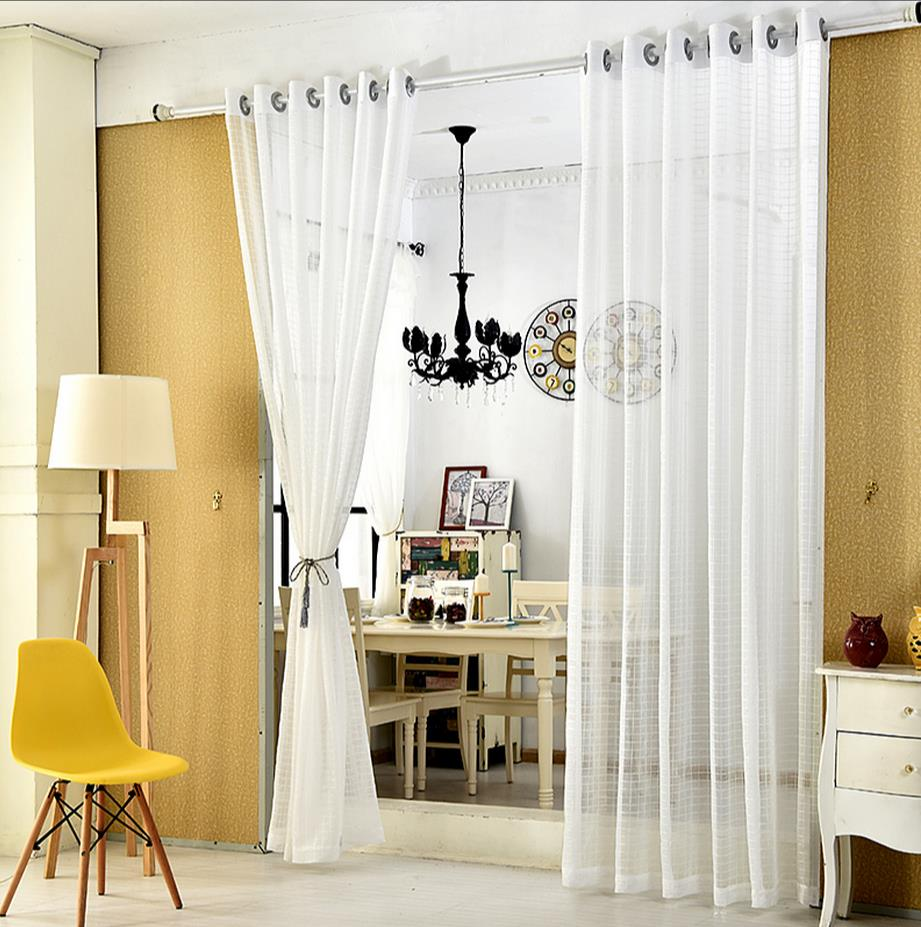 Curtain For Balcony: Grid Curtain Modern Bedroom Balcony Room Window Screening