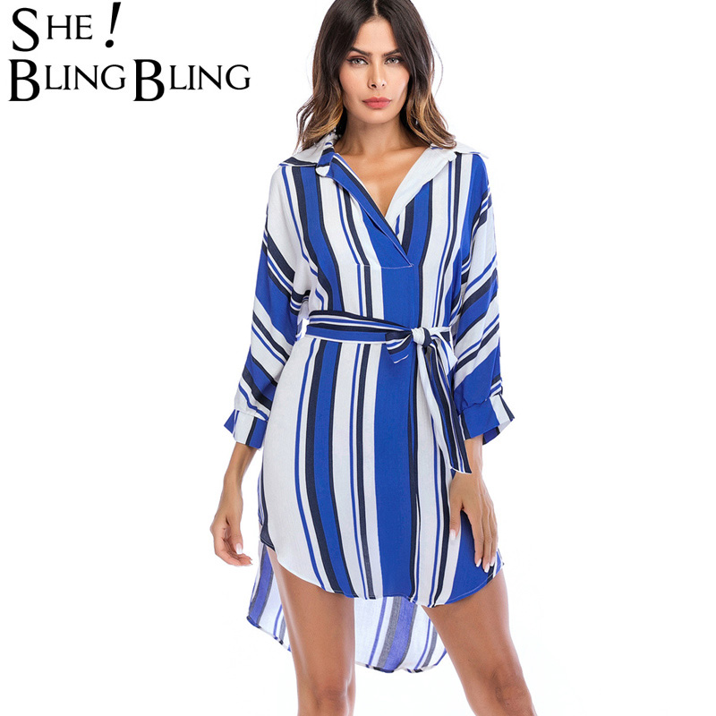 Sheblingbling Fashion Summer Women Blouses Shirts Turn Down Collar