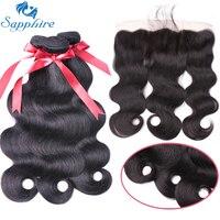 Sapphire Brazilian Body Wave Human Hair Bundles With Lace Frontal Closure For Salon 100 Human Hair