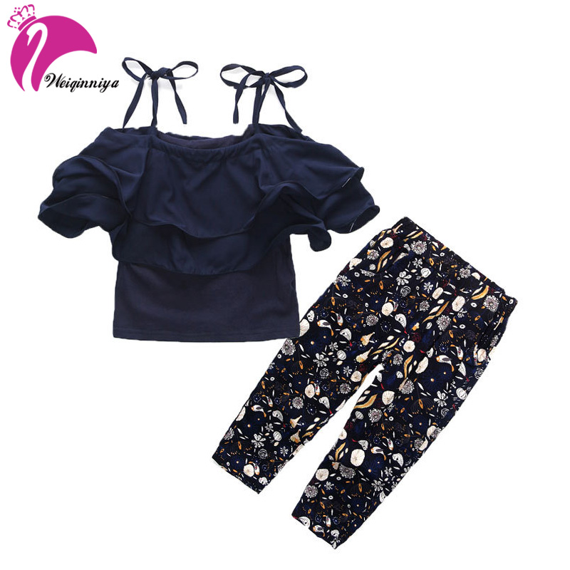 Summer Children Clothing Girls Clothing Set T-shirt + Printing pants Kids 2pcs Sport Suits Cute Brief Cotton Clothes For Girls girls in pants third summer