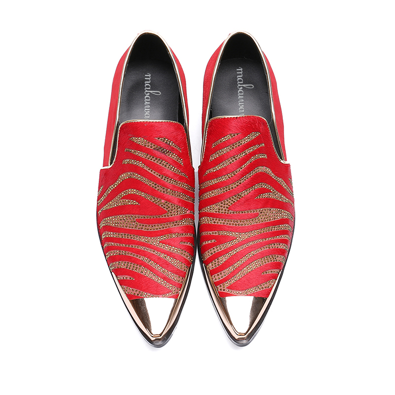 52a9bee9e56 Mabaiwan New Luxury Red Casual Men Gold Metal Toe Slip On Party Wedding  Shoes Men Handmade Cow Suede Banquet Prom Loafers Flats - aliexpress.com -  imall.com