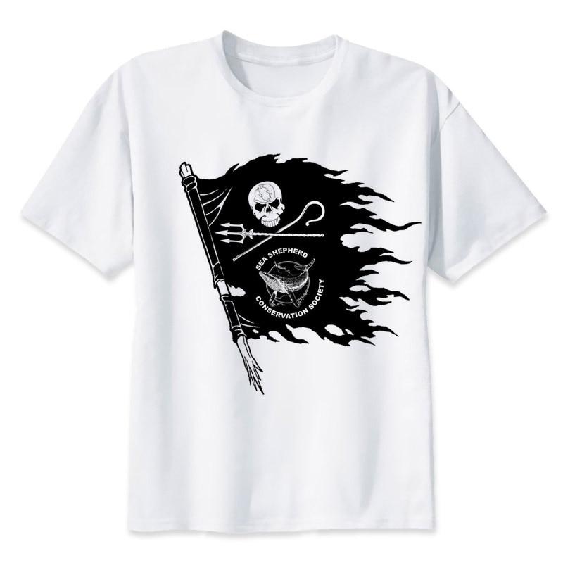 le plus en vogue couleur attrayante Conception innovante Cotton Cool Design Tee Shirts Sea shepherd T shirt men white ...