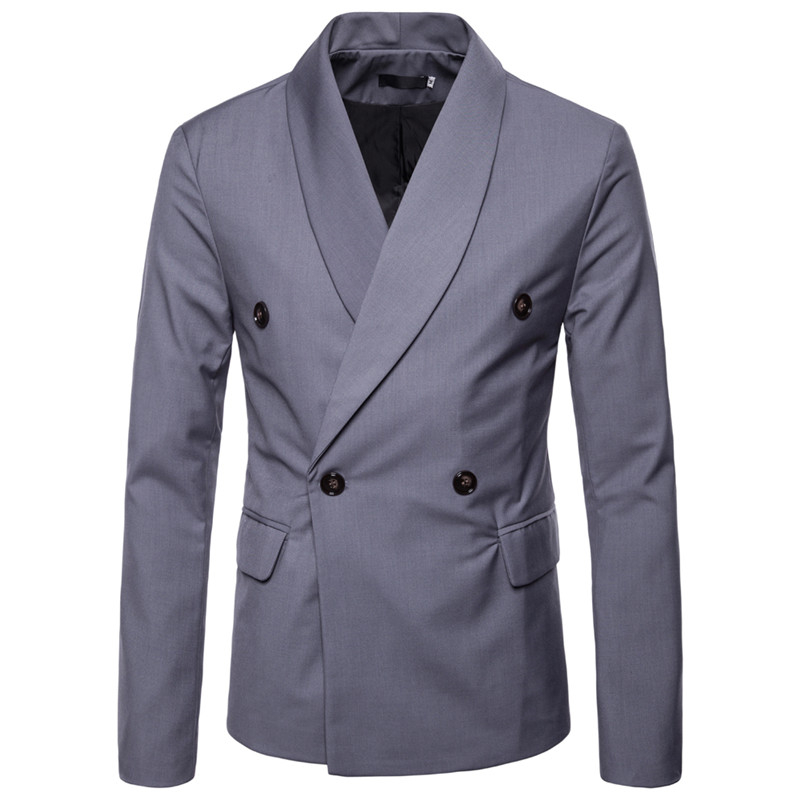 New Arrival Solid Color Double Breasted Men Blazer Suit Jacket Formal Business Outwear Dress Jacket Men Chaqueta Traje Hombre in Suit Jackets from Men 39 s Clothing