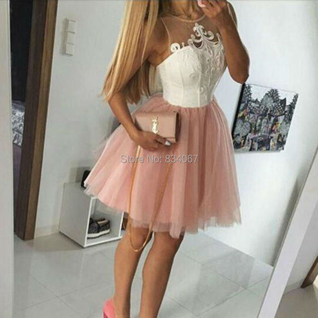 98ceeb7f4919 Lovely Short Homecoming Dresses 2017 mezuniyet elbiseleri Lace Appliques  Ball Gowns Knee Length Sweet 16 Party