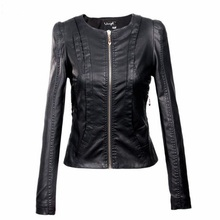 XS min size and  3XL Plus Size Stitching PU  leather jacket  2016 women's new motorcycle leather jacket Slim short jackets w626