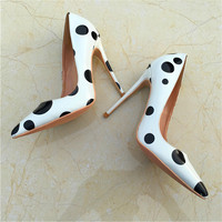 Fashion Black Dot Decorations Thin Heels Shoe Pointed Toe Woman Sexy High Heels 2018 Patent Leather Shallow Mouth Pumps