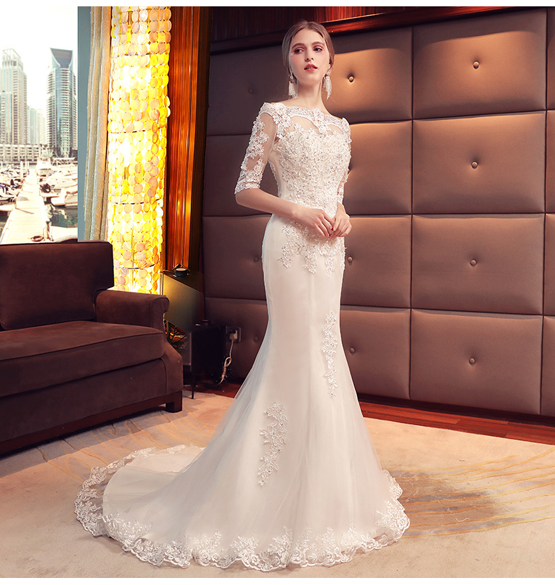 Boat Neck Mermaid Weddding Dresses Train Bridal Gown Elegant Bridal Dress Luxury Fine Wedding Gown Mariage Vestido De Noiva