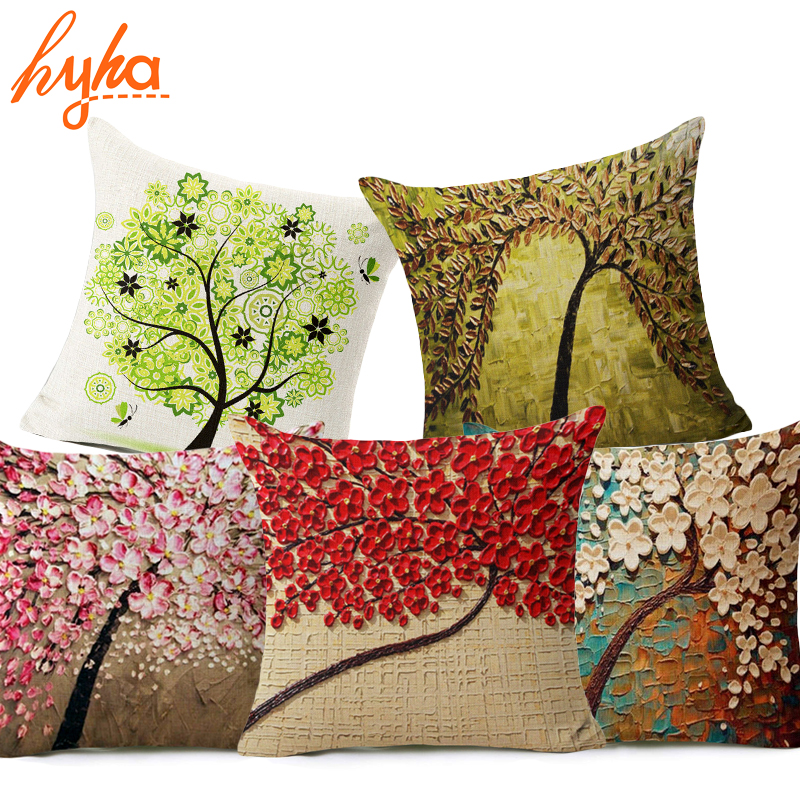 Hyha Oil Painting Style Cushion Cover 100% Flax Colorful Trees Flowers Simple Shape Pillows Cover Nordic Simple Brand Pillow