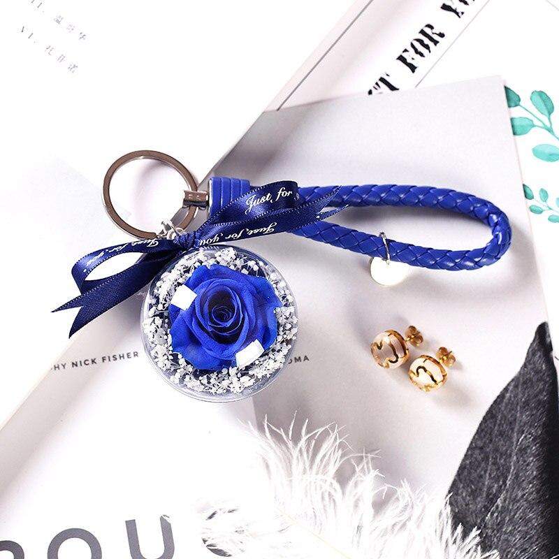 Новинка, красивая и чудовищная Роза в стеклянном куполе, светодиодный светильник, украшение для дома на День святого Валентина, рождественские подарки - Цвет: Blue 3 Keychain