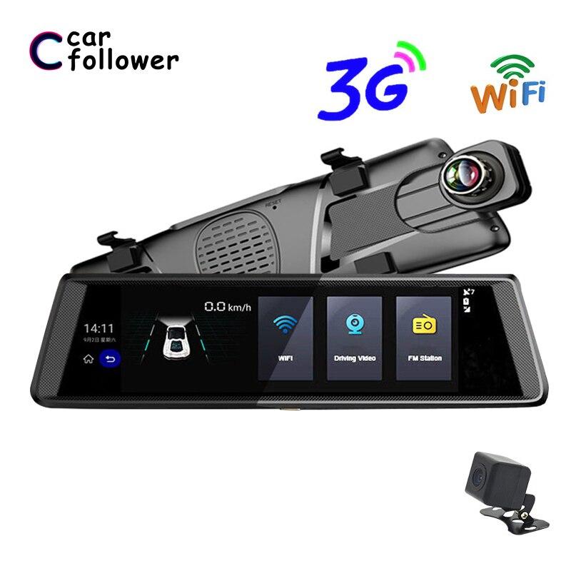 Автомобильный видеорегистратор 10 дюймов с сенсорным экраном FHD 1080P с двумя объективами, gps-навигация, Wifi, Bluetooth, fm-передатчик, камера для запис...