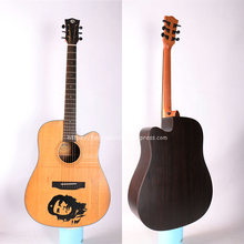 Finlay 41 Acoustic Guitar,Cutaway Solid Spruce Top/Rosewood Body,Drawing carving Top, guitars china With Hard case,DK-418C цена