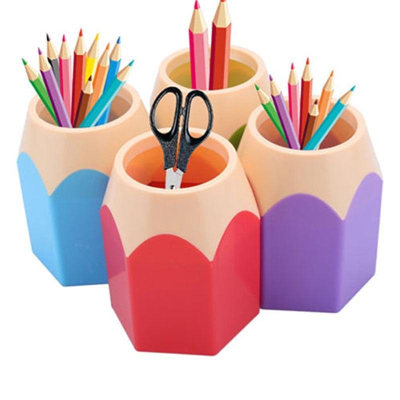 Pencil Shaped Make Up Brush Pen Holder Pot Office Stationery Storage Organizer