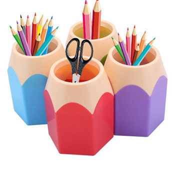 Pencil Shaped Make Up Brush Pen Holder Pot Office Stationery Storage Organizer