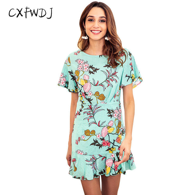 6a4559ac95d Women New Summer Dress SliGreen Ruffles printing Beach Vacation Round neck  Teenage girl Short sleeve Dress Mini Dresses Female