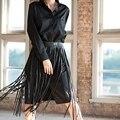 SEDRINUO 2017 moda Punk Do rebite vestindo corda longa borla cinto selvagem Cinto De Couro Preto para as mulheres do sexo feminino cinto de Cintura Alta w260