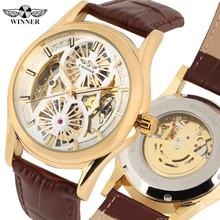 цены Fashion Gold Skeleton Automatic Mechanical Watch for Men Brown Leather Strap Wrist Watches Gift for Male Luxury Mechanical Watch