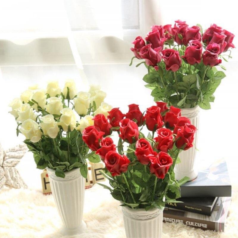 NieNie Artificial Flowers DIY Wedding Decorations 9 pcs/lot Real Touch Rose Bridal Bouquets Home Decor Flores