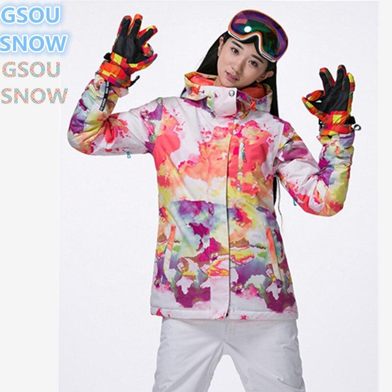 Gsou SNOW haute qualité 10 K combinaison de ski d'hiver pour femmes, combinaison de snowboard pour femmes, vêtements de ski d'hiver pour femmes, jacke de ski de montagne