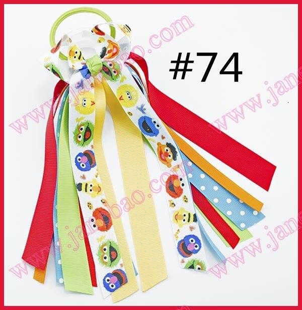 Free Shipping 120 Pcs Girl Hair Accessories Ponys O Bow Ponytail Streamer Elastic