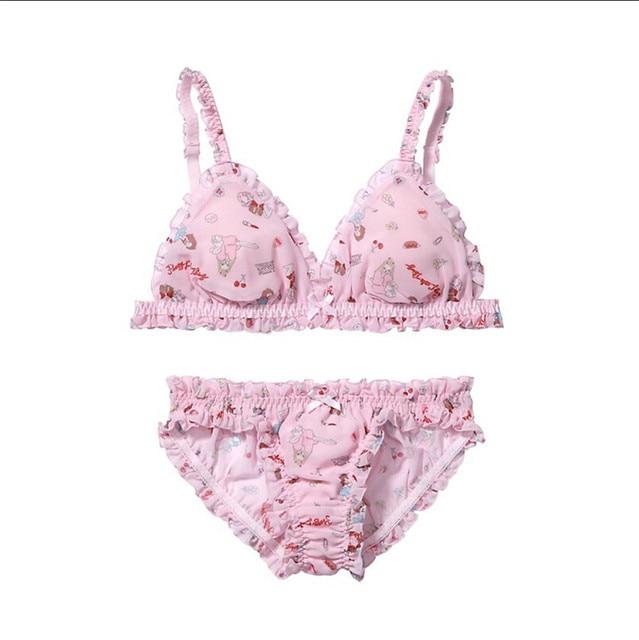 b3bfe80918 Super Cute Women s Floral Chiffon Ruffles Trim Pink Bra   Panties Bikini  Set Japanese Intimates PINK Lolita
