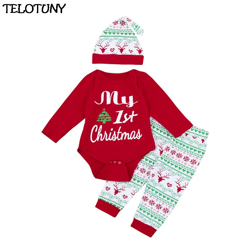 2017 FASHION 3Pcs Infant Baby Boy Girl Romper+Pants+Hat Christmas Outfits Set Clothes Y110930 cute animal infant baby girl boy clothes halloween christmas photography costume novelty jumpsuits overalls romper hat shoes