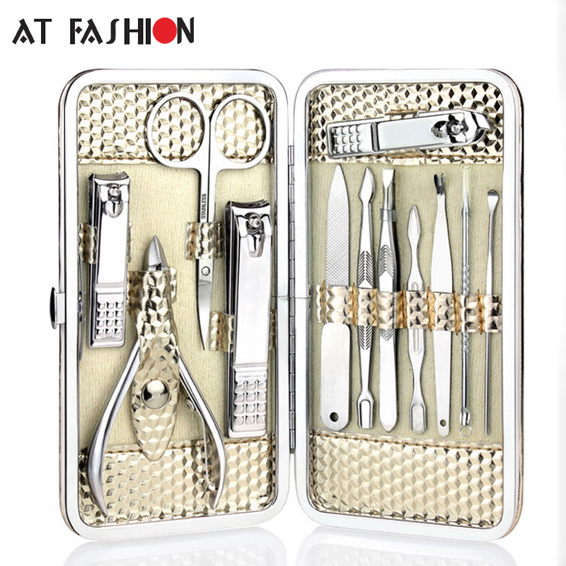12pcs Stainless steel Manicure Set Nail Care Tools Pedicure Nail Clipper Kit with Mini Finger Nail Cutter Clipper File Scissor practical 7 in 1 pu leather squares stainless steel daily care set nail tools with smiley face design