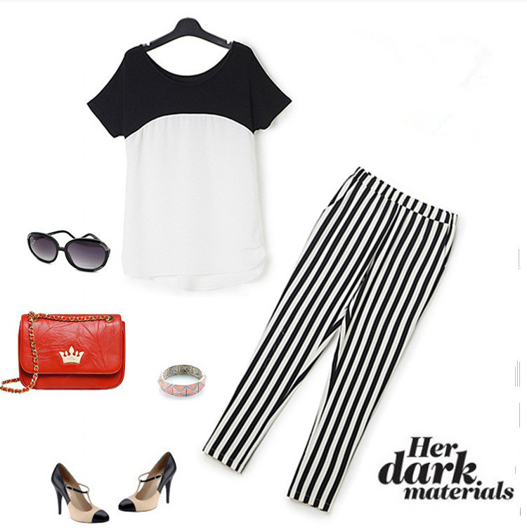 HTB1hN1GQXXXXXarXpXXq6xXFXXXu - Black White Striped Pencil Trousers Elegant Ladies Pants PTC 182