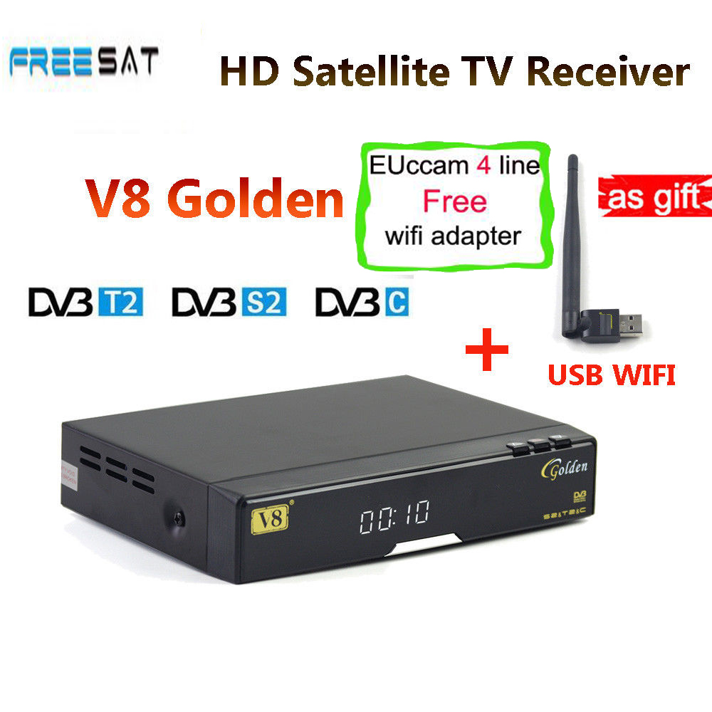 freesat V8 Golden Satellite Receiver + 1 year Europe ccam Cline DVB-S2+T2/C IPTV set top box Powervu Youtube freesat v8 super freesat v7 hd powervu satellite tv receiver dvb s2 with 3months free africa cccam account stable on starsat 5e