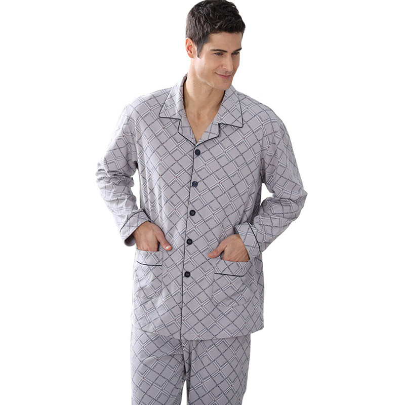 CherLemon Spring Fall Cozy New Sleepwear Men's 2pcs Long Knitted Cotton Sleep Pyjama Set Male Leisure Plaid Pajamas Plus Size