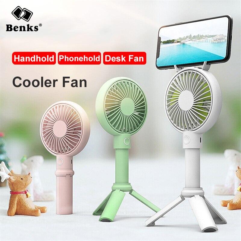 Benks Handheld USB Fan Cooler Portable 3 Speed Adjustable Mini Fan 3350mAh Rechargeable Handy Small Desk Desktop USB Cooling Fan