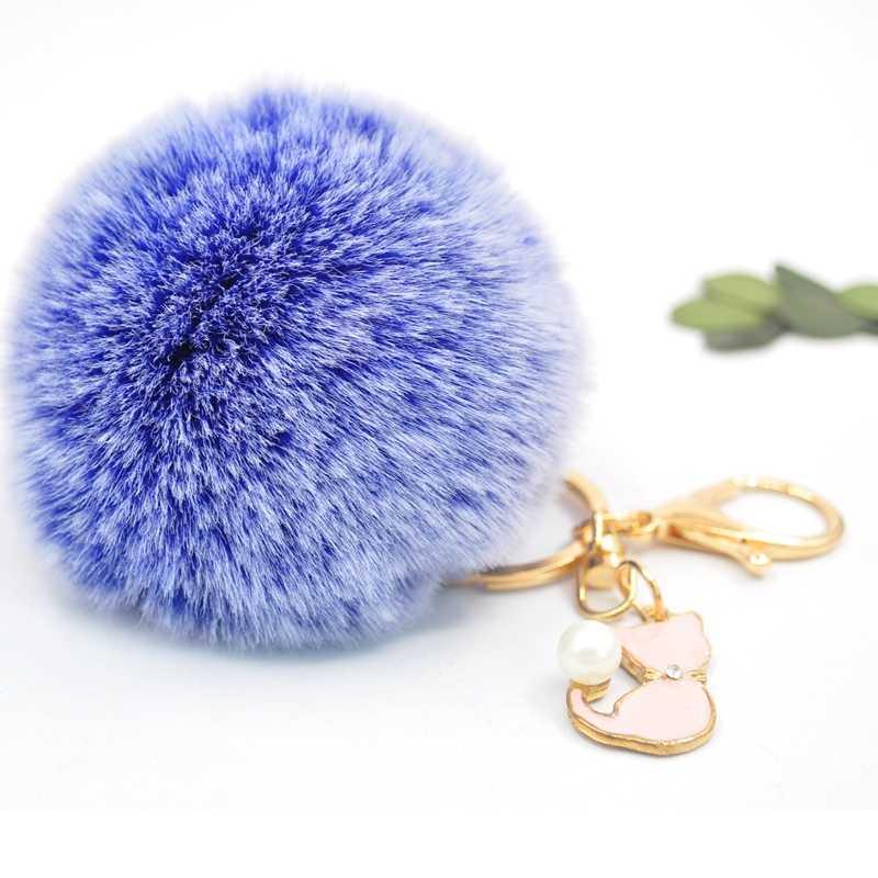 Pom Pom Faux กระต่าย FUR Keychain น่ารักเพิร์ลแมวสีชมพู Key สำหรับ Fluffy PomPom พวงกุญแจ Trinket สาว charms Llaveros
