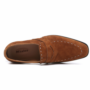 Image 4 - Misalwa 38 48 Casual Suede Men Oxford Dress Shoes Pointed Toe Mens Formal Shoe Khaki Elegant Simple Suit Gentleman Loafers Flats