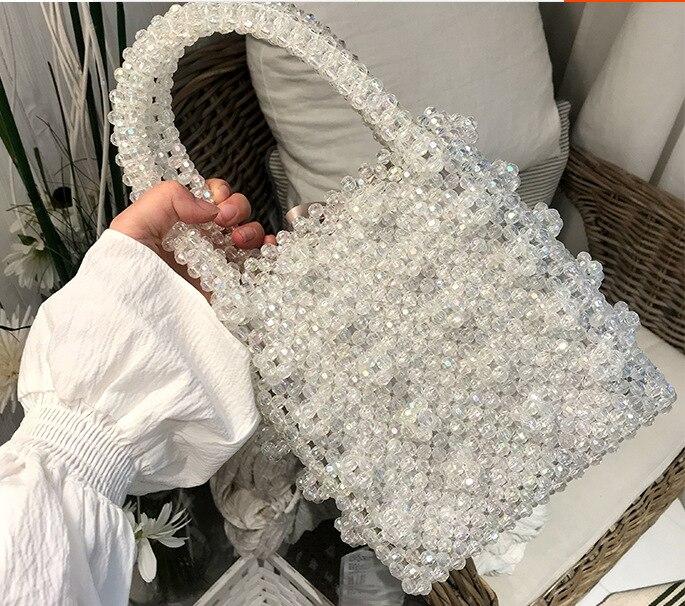 Clair Perlé Femmes Sac À Main 2018 Perles de luxe Sacs À Main Pour Les Femmes Cristal Perles Filles Sac de Soirée Mode décontracté Fourre-Tout