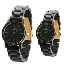 LinTimes унисекс Ретро дизайн черного дерева часы Нежный пары наручные часы с упаковочная коробка